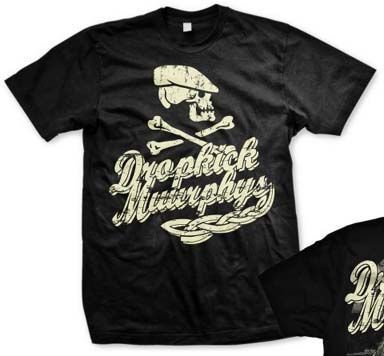 Dropkick Murphys- Scally Cap Skull on front, Ship on back on a black shirt