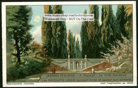 Italian Garden Frascati  La Villa Falconieri 1920s Card: