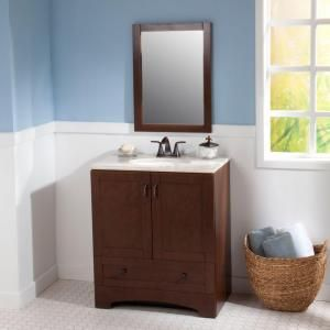 Glacier Bay Shaker 30 in. W Bottom Drawer Vanity in Auburn with Vanity Top in Oasis and Wall Mirror-SH30BDP3-AU at The Home Depot