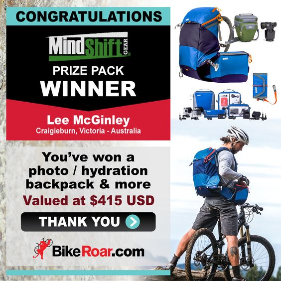 Congratulations Lee McGinley - winner of MindShift Gear photo / hydration backpack & more!   Become a BikeRoar subscriber and be automatically entered for our next giveaway! https://bikeroar.leadpages.net/leadbox/14134b073f72a2:17dcee124b46dc/5723920363683840