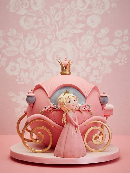 Pretty pink carriage with Princess figurine cake topper girl - Cinderella Carriage - www.cakecoachonline.com