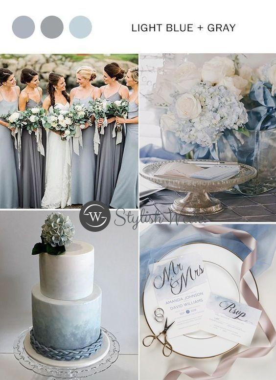 Shades Of Dusty Blue Watercolor Silver Foil Wedding Invitations Swfi001 Stylishwedd Blue Wedding Decorations Blue Themed Wedding Wedding Theme Colors