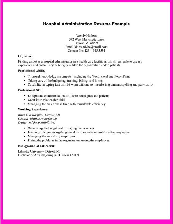 Example For Hospital Administration Resume - Http