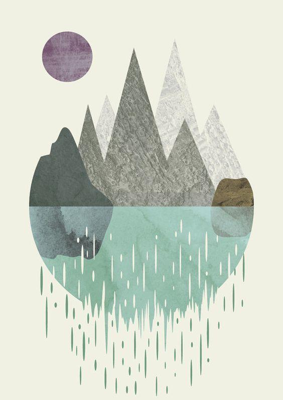 Waterfall - surreal art, artwork, abstract watercolor, modern decor, surreal, wall art, prints, home art, minimalist print, geometric, giclee  Ideal for