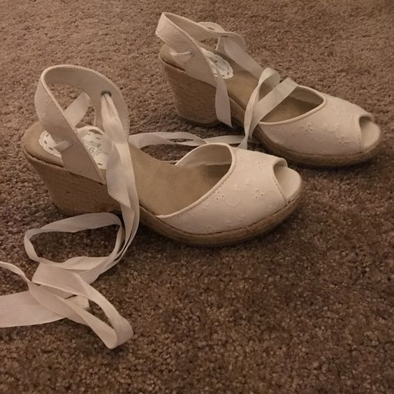 White eyelet espadrilles Fabulous white eyelet espadrille wedges. Size 8 Route 66 Shoes Espadrilles