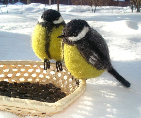 Handmade felted wool bird titmouse