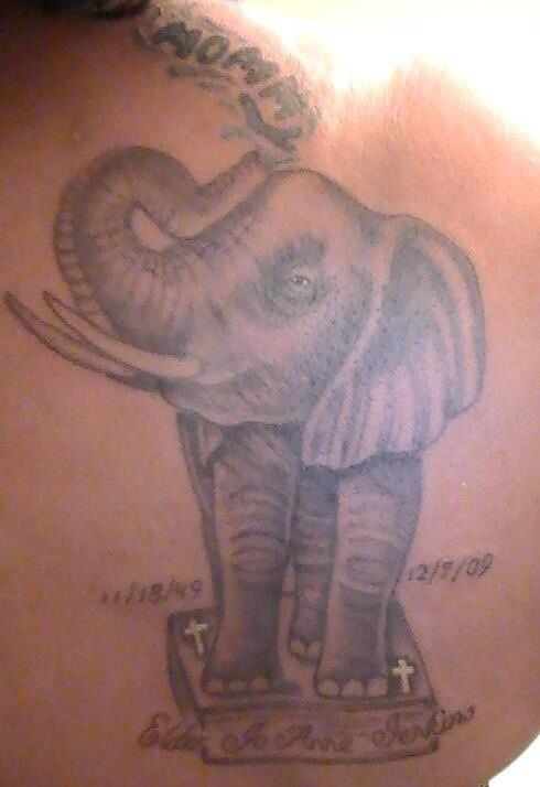 My Elephant/memorial tattoo Elephant 'Standing on the Word'..... Bible