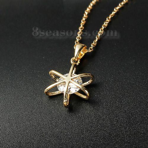 Wholesale New Fashion Copper & Zircon Necklace Link Cable Chain Light Golden Hexagram Pendant – 8seasons.com