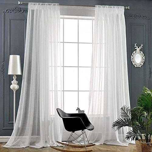 Voile Curtains Living Room, Long White Sheer Curtains