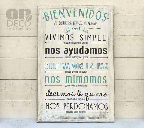 Cartel vintage bienvenidos a nuestra casa aqu - Nuestra casa es tu casa ...