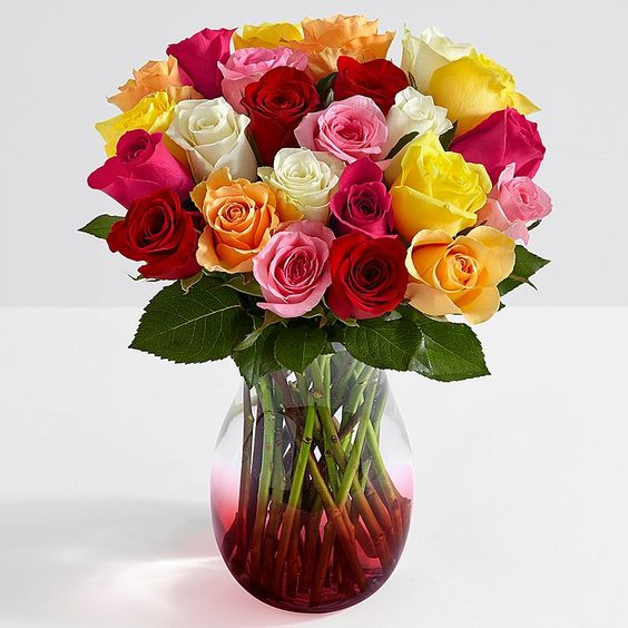 Two Dozen Colorful Roses with FREE Red Ombre Vase