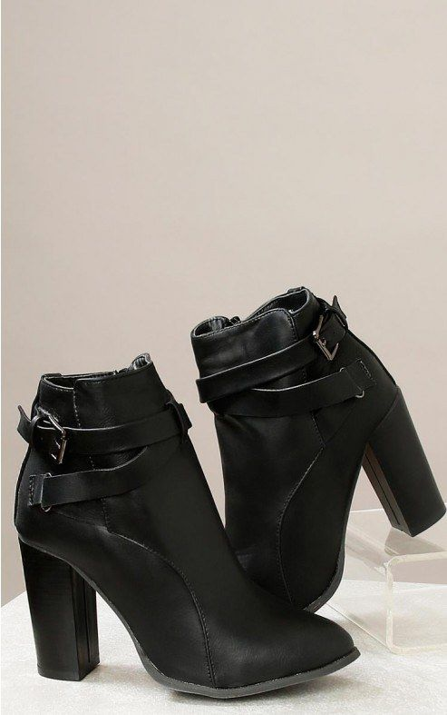 FAUX LEATHER HIGH HEEL ANKLE BOOTIES