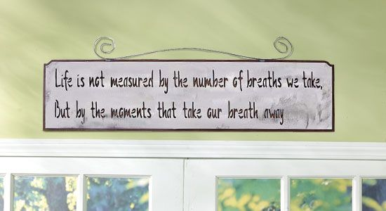 """Moments that Take our Breath Away.  Flawless Beauty!  Spectacular artistry combines with an inspirational quote for a breathtaking effect. Artfully detailed stainless steel sign measures 7"""" high x 28 1/2"""" wide. This huge sign looks great in any kitchen or over a door. It could also be hung indoors or out. Great gift for a new home buyer or to add to your own home decor. Handcrafted in the USA. SKU#: 145302  Price: Was $95.00     NOW ONLY $72.00"""