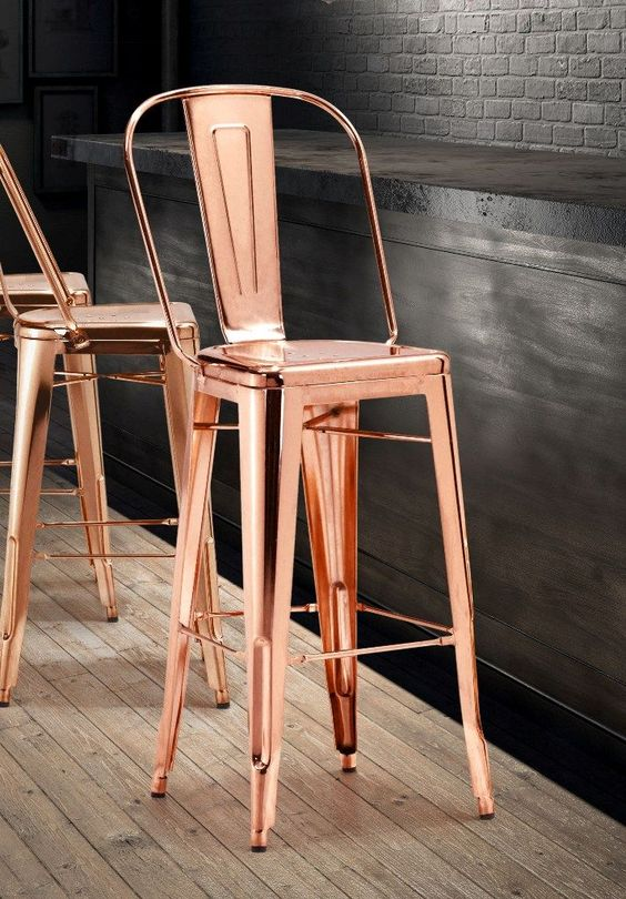 We LOVE the rose gold trend, can't wait to start seeing it used on exteriors! Elio Barstool in Rose Gold - Zuo Modern 108063 | pinned by kimbalikes.com