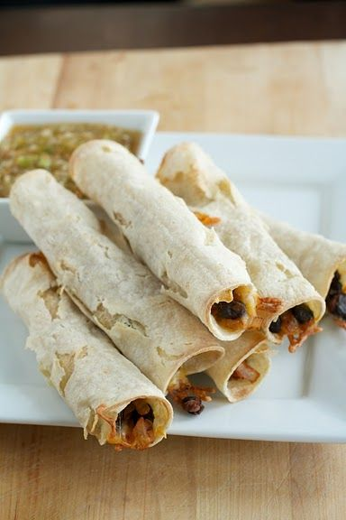 Baked Black Bean Taquitos (three for dinner is only 372 calories)