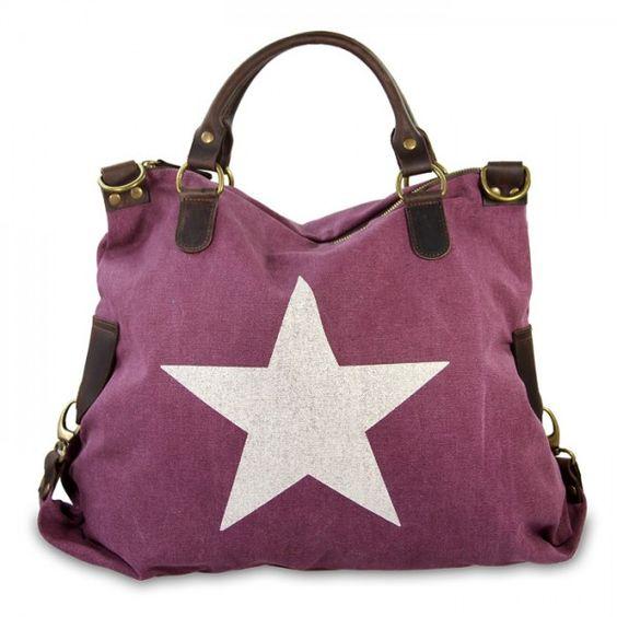mynewbag.de - #IO.IO.MIO. Ital. Damentasche Leder Canvas Mix großer #Shopper #Stern beere