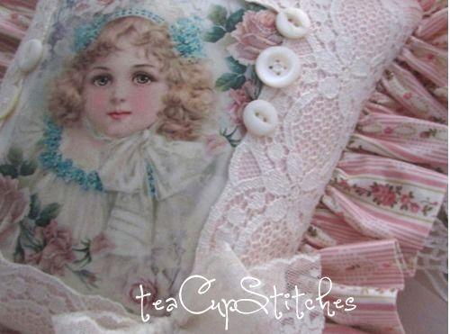 Sweet Frances Brundage Girl~Pink Roses~VINTAGE IMAGE PILLOW~Shabby Cottage Chic