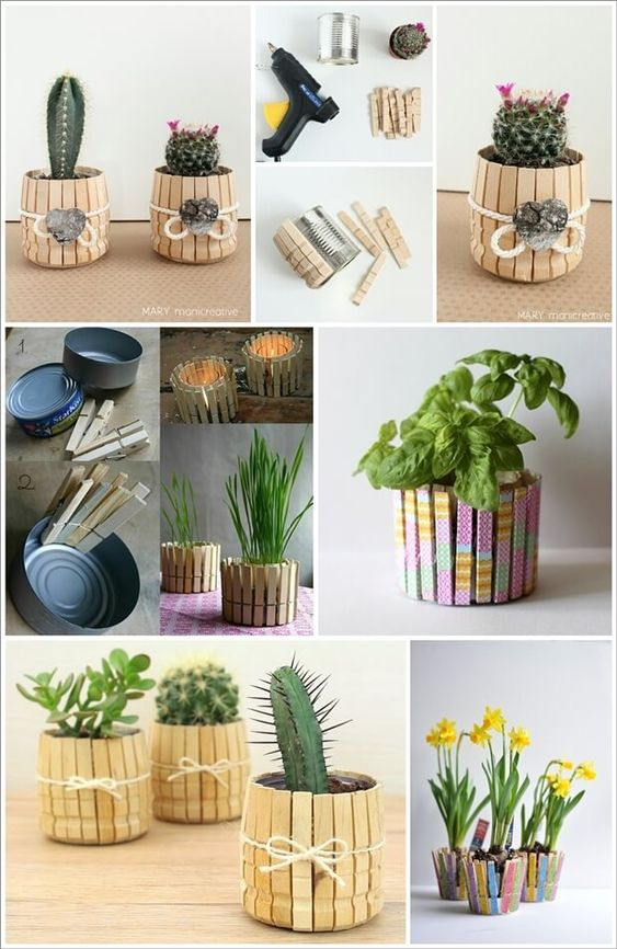 Image via: 1 , 2 , 3 , 4 , 5 To make a planter with tin can and clothespins first you have to remove the springs of all the clothespins. After that take ea