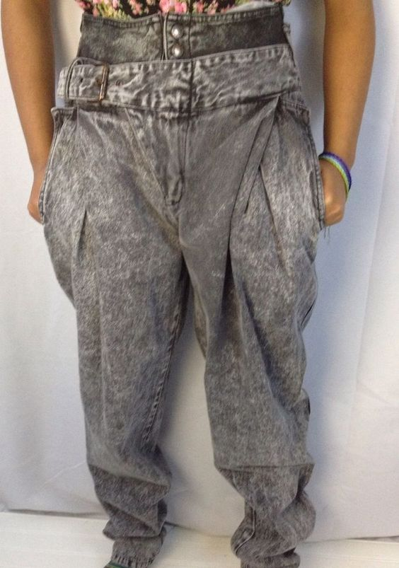 Black Acid Wash High Double Waist Mc Hammer Pants Jeans Vtg 80s size 30 L #Bell $26