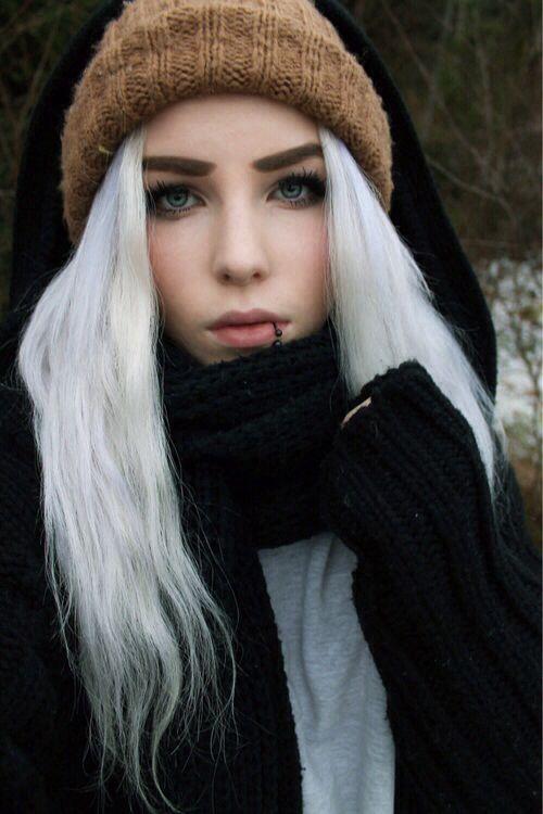 lip piercing white hair p e i r c e d