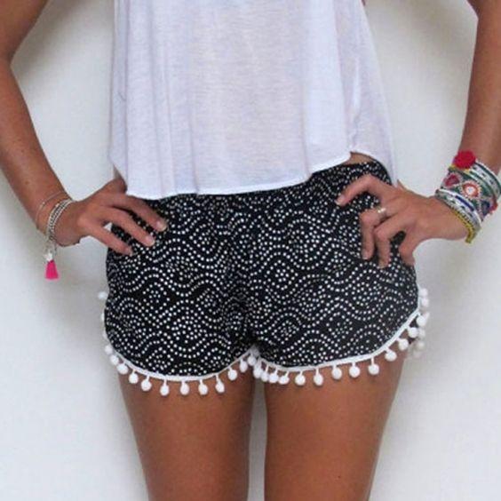 Summer Fashion Casual Sexy femmes Dot Imprimer Shorts_Pants taille élastique Fringe plage chaude / Mode Zone & Best de Shorts_Women_Women prix Vêtements