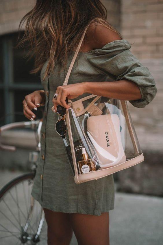 Beige clear translucent handbag.