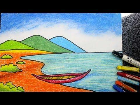 cara menggambar pemandangan pantai mudah - YouTube (Dengan gambar ...