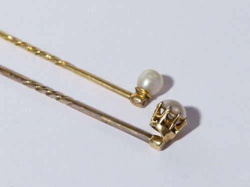 Antique Real Pearl Gold Stick Pins Brooch Good Condition