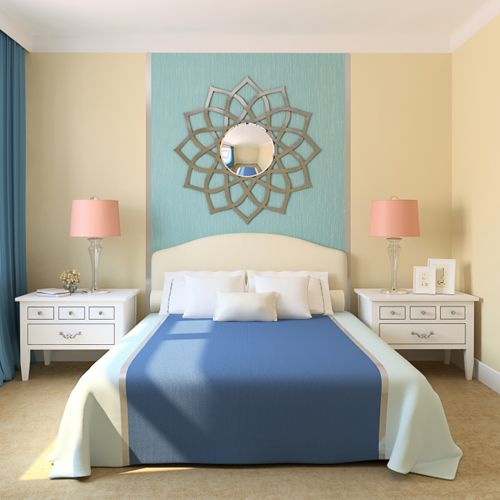 Idea for dining room accent wall - metallic silver/pewter on outer sections and bolder blue in the center: