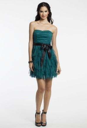 Short Strapless Glitter Dress with Ribbon Belt from Camille La Vie and Group USA