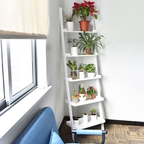 White 5 Tier Bookcase Bookshelf Leaning Wall Plant Shelf Ladder Storage Display Leaning Wall Shelf Bookshelves In Living Room Shelves In Bedroom