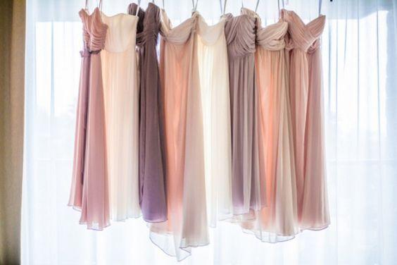 Soft hued bridesmaid dresses,  Leaf Wedding Photography