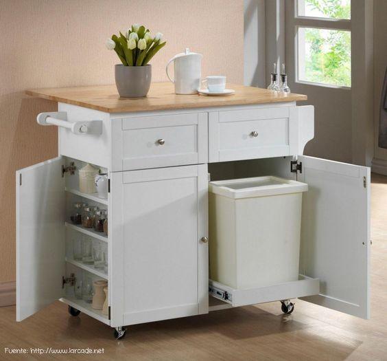 Siempre es til tener una mesa auxiliar si adem s tiene for Mesa auxiliar de cocina con ruedas