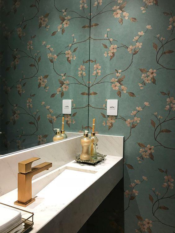Lavabo pequeno consultorio papel de parede floral
