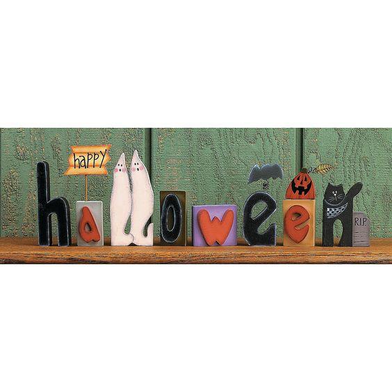 Happy Halloween Blocks - TerrysVillage.com $8