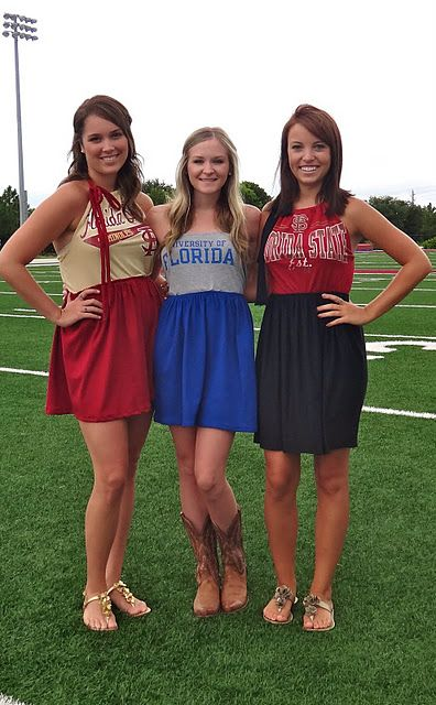 These are too cute! Game day dresses made with tshirts: