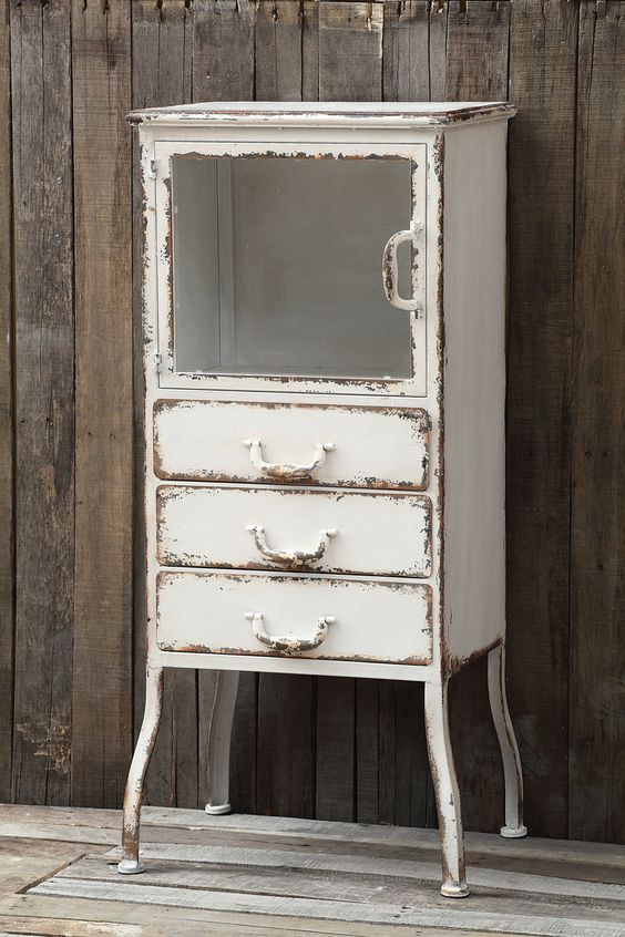 Distressed Wood And Glass Bathroom Wall Cabinet: Distressed White Metal Apothecary Cabinet -- Farmhouse