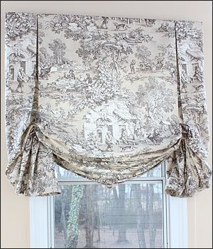 London shades look a bit like the balloon valance, but they're more utilitarian. They have the same shirred, puffed look when the ribbon is pulled up to make the shade ascend. Perfect for the bedroom, living room, or dining room, you can really go to town with a contrasting ribbon for a dramatic look.