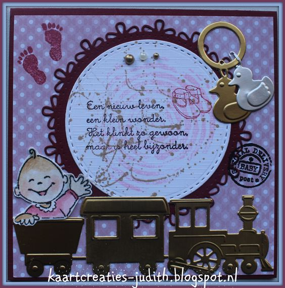 Marianne Design LR0307 Ramelaar LR0308 Treintje met wagonnetjes Col1313 Elines baby Cr1201 cirkel Cr1248 circle flower stitch CR1360 Passe partouts PB7049 Eline's Babies blue PB7050 Eline's baby pink CA3126 Papier goud CA3127 Papier Zilver EC0106 Eline's baby stempel CS0922 Babyteksten Mm1606 Texture circles Mm1607 Texture splatters CS0924 Hands and feet