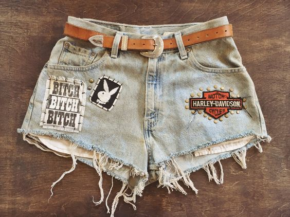 Knees In the Breeze patched up Levi's shorts