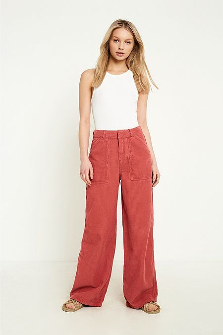 UO Pink Corduroy Puddle Trousers