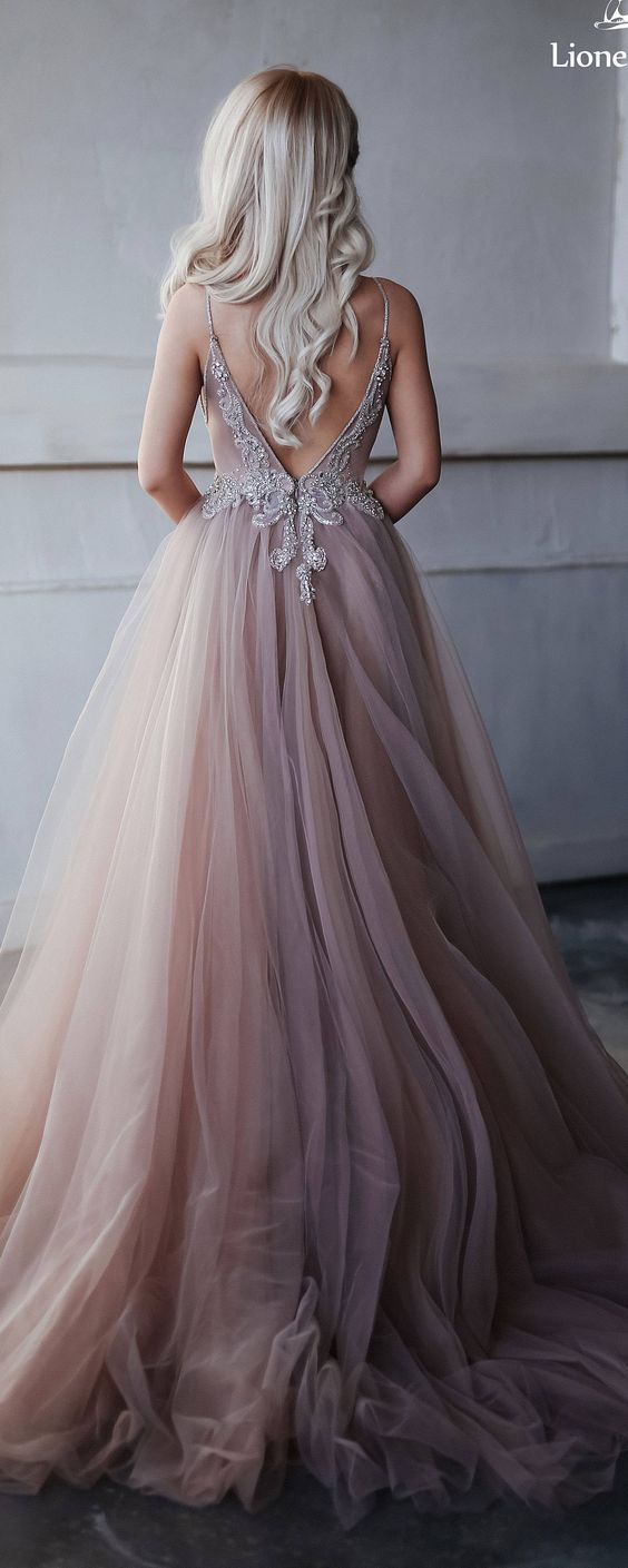 Wedding dress of extraordinary smoky purple, hand-embroidered crystals, lush tulle skirt, an open back / Prom Dress / Evening Dress / Kristi