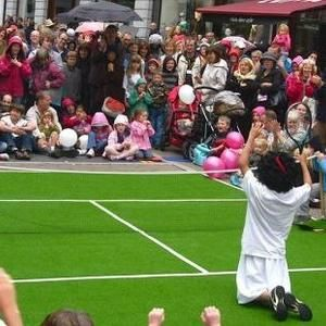 Comedy Tennis themed street theatre show for hire in London and the UK