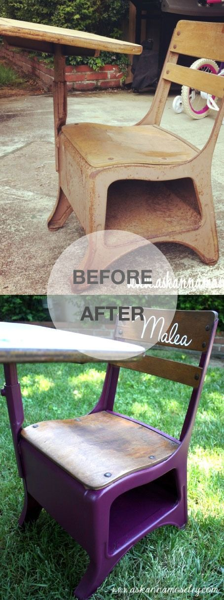 Check out this vintage school desk makeover. Such a fun DIY project that the kids are sure to love!