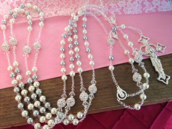 Swarovski Silver and Cream Color Pearls Wedding Lasso/laso De Boda/ Crystal Pearls Wedding Rosary /Lazo De Boda En Perlas Grises Y Cremita
