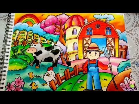 Cara Menggambar Mewarnai Tema Farm Peternakan Dengan Gradasi Warna Oil Pastel Youtube Cara Menggambar Gambar Pastel Pelajaran Seni
