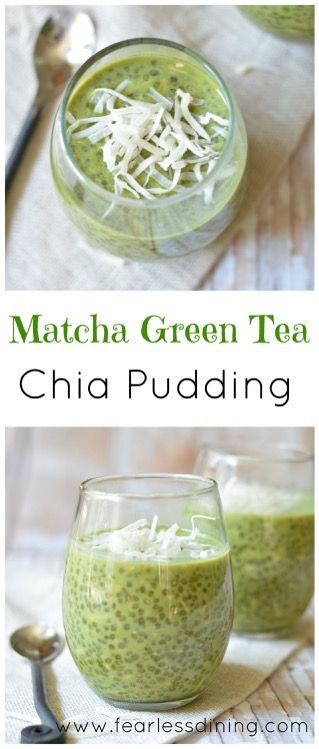 Matcha Green Tea Chia Pudding ~ This dairy-free matcha green tea chia pudding with coconut makes a wonderful breakfast or snack! ~ from www.fearlessdining.com