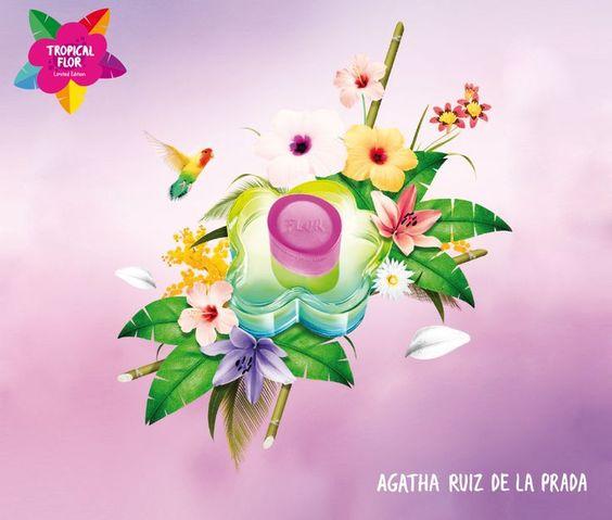 Flor Tropical de Agatha Ruiz de la Prada - Abre com notas verdes e pera misturadas a frutas exóticas sobre um coração de frangipani e freesia com madeiras, âmbar, patchouli e musk no fundo