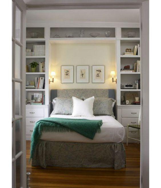 traditionell regale idee kleine schlafzimmer gr er aussehen bett tipp pinterest. Black Bedroom Furniture Sets. Home Design Ideas
