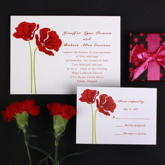 Red Poppies Wedding Invitations LMI026 LMI026 000 Cheap – Wedding Invitations with Free Response Cards